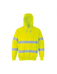 Portwest Hi-vis Hooded Sweatshirt (B304) - Yellow Front