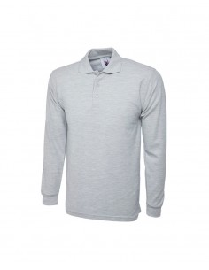 Uneek Clothing Longsleeve Poloshirt (UC113) - Heather Grey