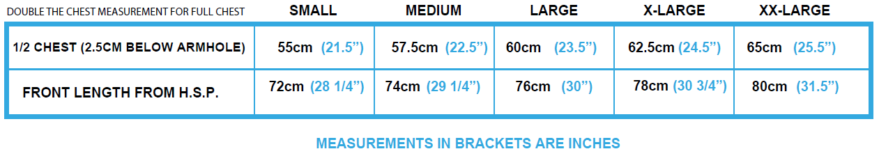 Ox Workwear Over Head Hoodie Size Chart