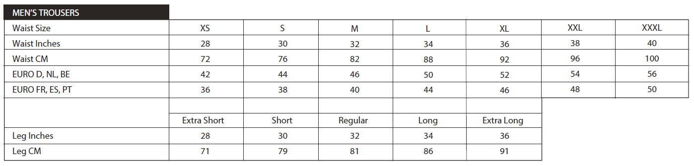 Scruffs Trouser Size Chart