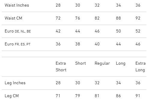 Scruffs Pro Flex Trouser Size Chart